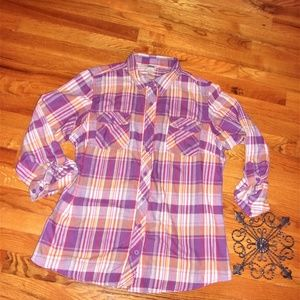 flannel duluth trading co woman large shirt purple